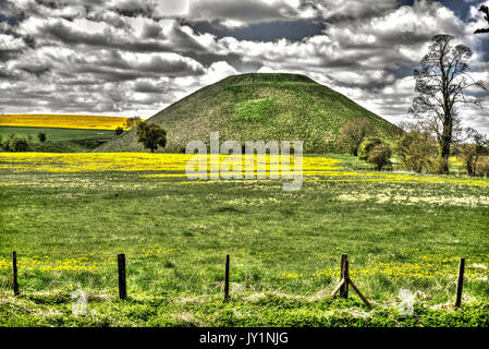 Silbury Hill (processed as an HDR image). - Stock Photo
