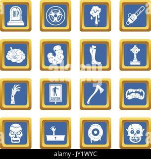 Zombie icons set blue - Stock Photo