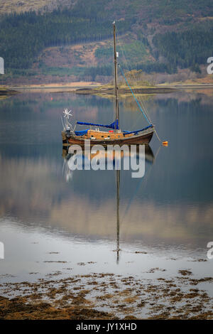 Boat on the Loch in Scotland UK - Stock Photo