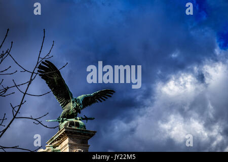 Eagle Statue in the Buda Castle, Budapest, Hungary - Stock Photo