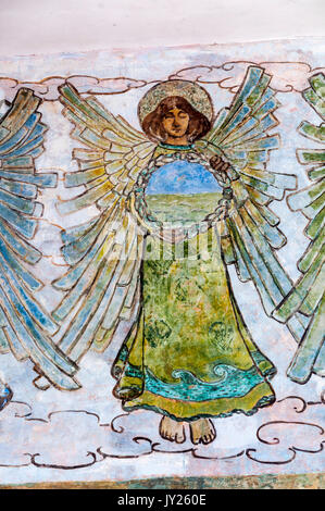 Detail of 19th century painted frieze of angels from the church of St Mary at East Guldeford on Romney Marsh. They - Stock Photo