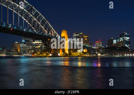 Sydney Harbour Bridge after dark, Sydney, New South Wales, Australia - Stock Photo