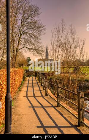Salisbury Cathedral, seen from Harnham mill, (processed as an HDR image). - Stock Photo