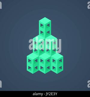 green abstract isometric building icon - Stock Photo
