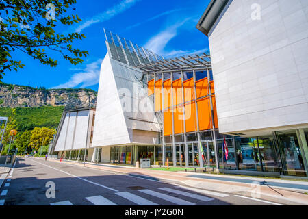 Trento, Italy, 14 Aug 2017: exterior of MUSE modern museum of natural history - building designed by famous architect - Stock Photo