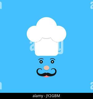 physiognomy of chef on blue background
