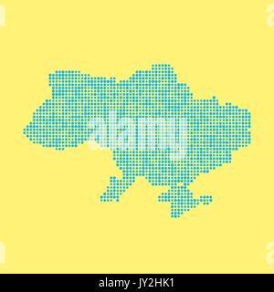blue ukrainian map from dots - Stock Photo