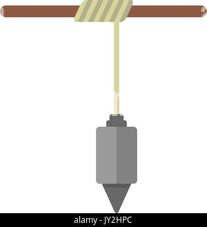 construction plummet hanging on rope - Stock Photo