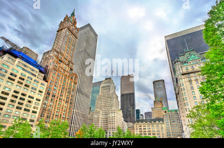 Skyscrapers on Grand Army Plaza in Manhattan, New York City - Stock Photo