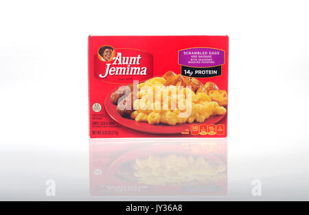 Unopened box of Frozen Aunt Jemima microwaveable breakfast of Scrambled Eggs with Sausage and roasted potatoes breakfast - Stock Photo
