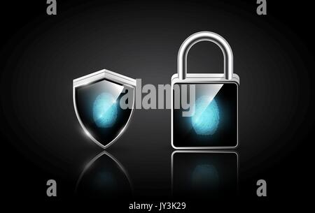 Fingerprint on realistic modern padlock and shield, security system protection concept, transparent vector illustration - Stock Photo