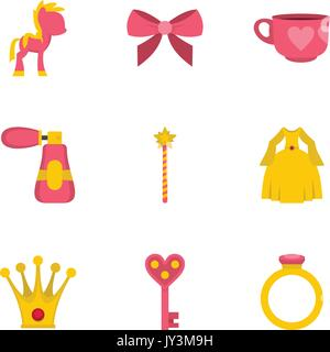 Princess fairy tail icon set, flat style - Stock Photo