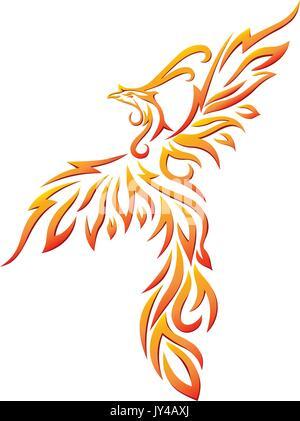 Colorful Dancing Phoenix Illustration Vector - Stock Photo