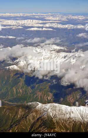 Kaikoura Mountains in Spring Aerial Morning View, North Canterbury New Zealand - Stock Photo