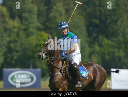 Tseleevo, Moscow region, Russia - July 26, 2014: Alexis Rodzianko of Moscow Polo Club in the match against the team - Stock Photo