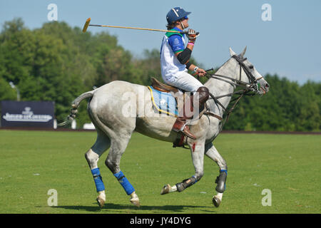 Tseleevo, Moscow region, Russia - July 26, 2014: Esteban Panelo of Moscow Polo club in action in the match against - Stock Photo