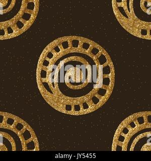 Vector gold hand drawn ethnic tribal background. Seamless isolated elements. Golden seamless pattern. - Stock Photo