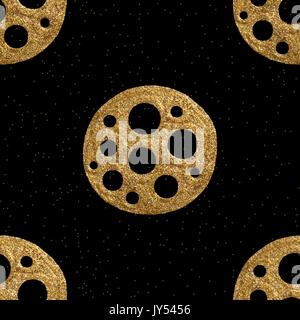 Vector gold hand drawn ethnic tribal element isolated on black background. Golden seamless pattern. - Stock Photo
