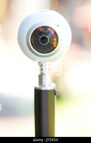 Close up picture of a 360 degree panoramic virtual tour camera outdoor - Stock Photo