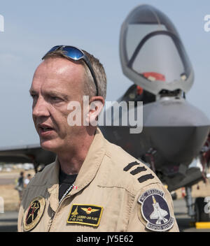 Abbotsford, British Columbia, Canada. 12th Aug, 2017. Lt-Col LAURENS-JAN VIJGE of the Royal Netherlands Air Force - Stock Photo