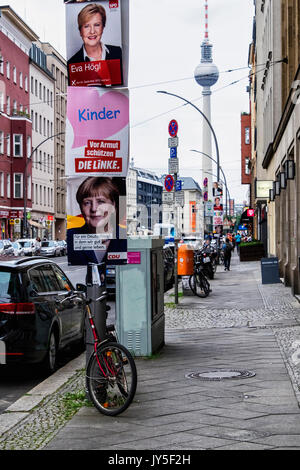 Berlin, Germany. 17th Aug, 2017. Election posters appear in Berlin streets. The German Federal Election takes place - Stock Photo