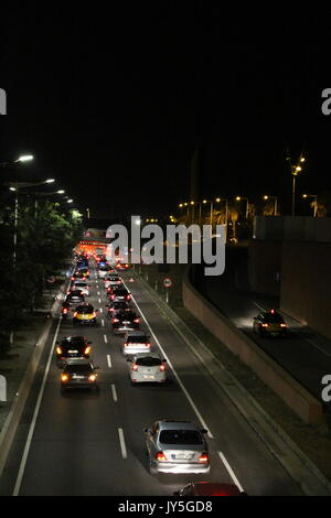 Barcelona, Spain. 17th Aug, 2017. Big traffic out of Barcelona on the Ronda Litoral, on the day of the terrorist - Stock Photo