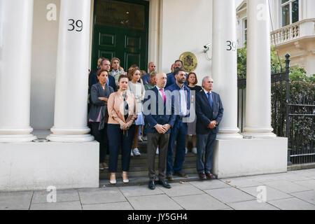 London UK. 18th August 2017. Spanish Embassy staff led by Jose Maria Fernandez Lopez de Turiso (Deputy Head of Mission) - Stock Photo