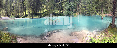 HANDOUT - Handout picture made available on 18 August 2017 showing the turquoise water of a new lake shining through - Stock Photo