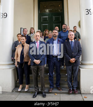 Spanish Embassy. London, UK. 18th Aug, 2017. Staff at the Spanish Embassy in London, including, the Deputy Head - Stock Photo