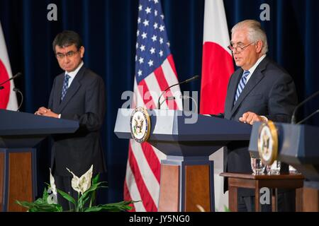 U.S. Secretary of State Rex Tillerson during a joint press conference with Japanese Foreign Minister Taro Kono following - Stock Photo