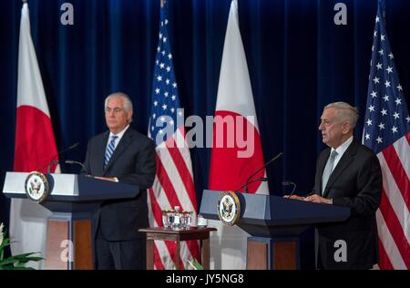 U.S. Defense Secretary Jim Mattis, right, and Secretary of State Rex Tillerson during a joint press conference following - Stock Photo