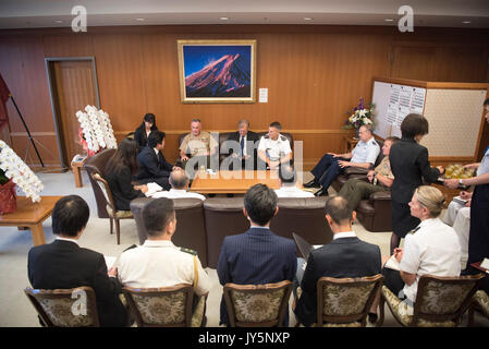 Tokyo, Japan. 18th Aug, 2017. U.S. Chairman of the Joint Chiefs Gen. Joseph Dunford and delegation meets with Japanese - Stock Photo