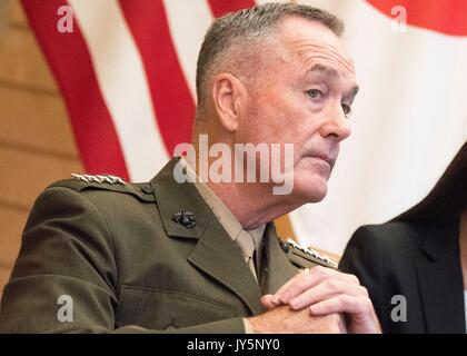 Tokyo, Japan. 18th Aug, 2017. U.S. Chairman of the Joint Chiefs Gen. Joseph Dunford during a meeting with Japanese - Stock Photo