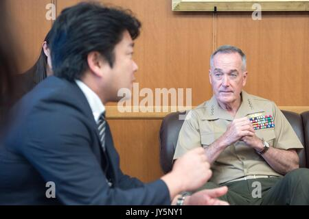 Tokyo, Japan. 18th Aug, 2017. U.S. Chairman of the Joint Chiefs Gen. Joseph Dunford during a bilateral meeting with - Stock Photo
