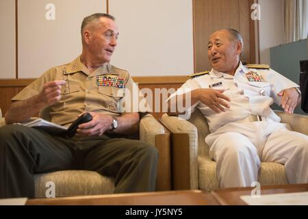Tokyo, Japan. 18th Aug, 2017. U.S. Chairman of the Joint Chiefs Gen. Joseph Dunford, left, meets with Japanese Chief - Stock Photo