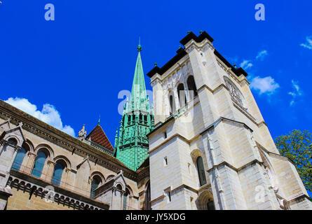 Geneva, Switzerland - June 17, 2016: The St. Pierre Cathedral - Stock Photo