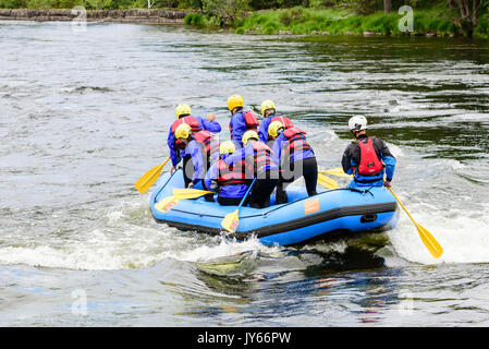 Byglandsfjord, Norway - August 1, 2017: Travel documentary of rafting group having an adventure on the river. Group - Stock Photo