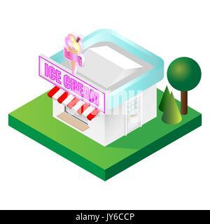 Detailed isometric ice cream parlour vector illustration - Stock Photo