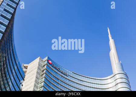 UniCredit Tower in the Porta Nuova District, Milan, Italy. Designed by the architect Cesar Pelli it is the tallest - Stock Photo