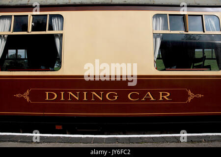 The dining car of what was a Pullman railway carriage now at Cheddleton station, home of Churnet Valley steam Railway - Stock Photo