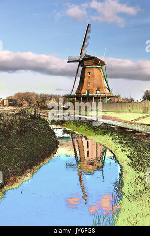 Traditional Dutch windmill in Zaanse Schans, Amsterdam area, Holland,(Art style with painted foreground) - Stock Photo