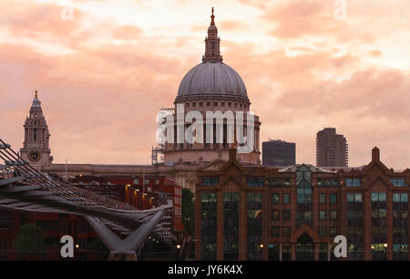 The view of the dome of Saint Paul's Cathedral at sunset, City of London. - Stock Photo