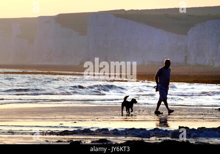Man and his dog walking on the beach near the iconic Seven Sisters chalk cliffs, East Sussex. - Stock Photo