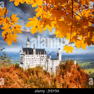 Famous Neuschwanstein castle in Bavaria with autumn leaves, Germany - Stock Photo
