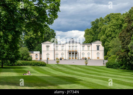 Rosendal palace in Stockholm. Rosendal palace located in the recreational area of Djurgarden is one of 11 Royal - Stock Photo