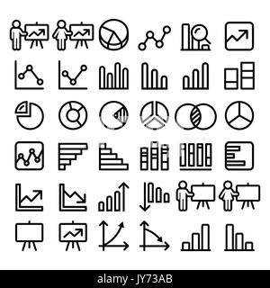 Pie chart, graph, presentation black line icons set - business, finance concept - big pack      Minimalist icons - Stock Photo