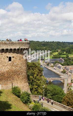 Dinan, Brittany, France - the River Rance and St Catherines Tower, part of the walls of the Old Town; Dinan France - Stock Photo