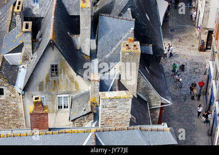 Brittany France - Medieval buildings and rooftops seen from above in the Old town or Walled town of Dinan, Cotes - Stock Photo