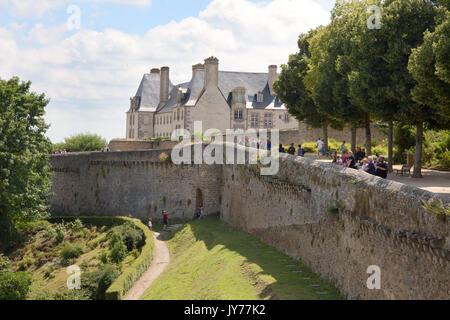 Dinan France walled town - people walking the walls of the old town, Dinan, Brittany France - Stock Photo