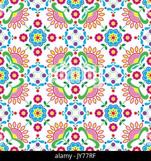 Seamless Norwegian traditional folk art Bunad pattern - Rosemaling style embroidery       Vector colorful background, - Stock Photo